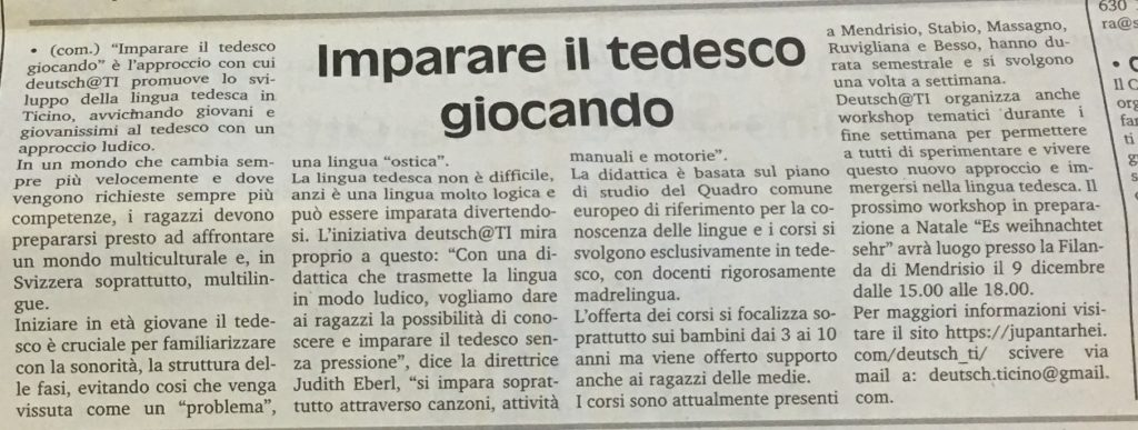deutsch@ti - Corsi di Tedesco Per bambini in Ticino